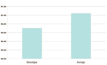 Vertical axis: Cost of production/kg lwt beef. Horizontal axis: Barwidgee ($0.70) Average ($1.04)